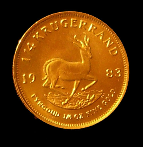 1 4 Oz Gold Krugerrand Springbok Side